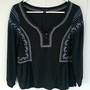 American Eagle Outfitters Black Peasant Top